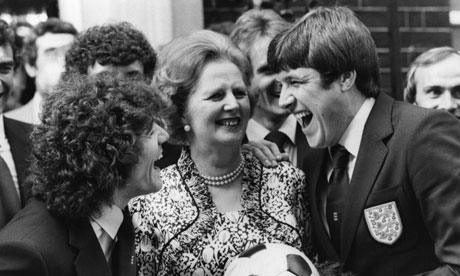 Margaret Thatcher at 10 Downing Street with England's Kevin Keegan and Emlyn Hughes